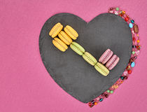 Still life macarons, key shape,heart.Love concept Stock Photos