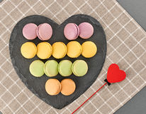 Still life macarons, red heart.Love concept Royalty Free Stock Image