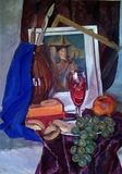 Still life made in gouache on paper. A bunch of grapes, an apple, bagels, wine in a glass, a jug and other items. stock photos