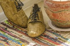 Still life with man shoes, flower pot and woven rug Stock Image