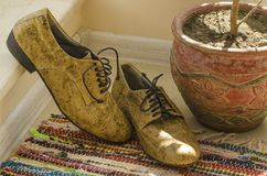Still life with man shoes, flower pot and woven rug Stock Photo