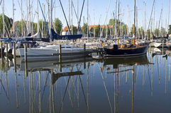 Still life of marina with sailboats, Medemblik Royalty Free Stock Images