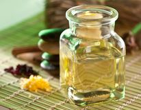 Still life with massage oil. In the spa salon stock image