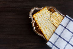 Still-life with matzoh jewish passover bread Royalty Free Stock Photo