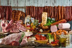 Still life of meat products Stock Photos