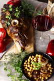 Still life with meat and vegetables Stock Photos