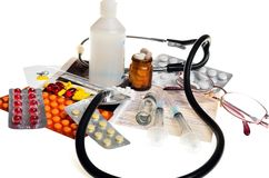 Still life of medical items used by doctors to treat Royalty Free Stock Photo