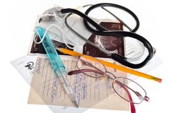 Still life of medical items used by doctors to treat Royalty Free Stock Images
