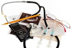 Still life of medical items used by doctors to treat Stock Photos