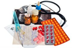 Still life of medical items used by doctors to treat Royalty Free Stock Photos