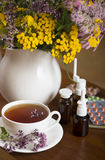 Still life from medicinal herbs, herbal tea and Stock Image