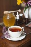 Still life from medicinal herbs, honey, herbal tea Stock Photo