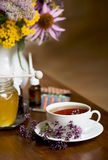 Still life from medicinal herbs, honey, herbal tea and medicines Stock Photography