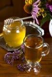 Still life from medicinal herbs, honey, herbal tea Stock Image