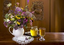 Still life from medicinal herbs, honey, herbal tea Royalty Free Stock Photography