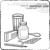 Still life with medicine for the flu and colds.  Stock Photography
