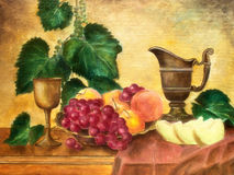 Still life with melon. Original oil painting on canvas Stock Image