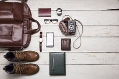 Still life with Men`s casual outfits with leather accessories on Royalty Free Stock Image