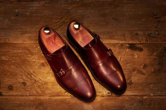 Still life with men`s leather shoes. Royalty Free Stock Photos