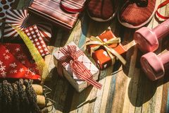 Still life of Merry Christmas and Happy new year and any holidy. Present boxes for healthy and active lifestyle concepts vintage retro tone. Composition with Royalty Free Stock Photos