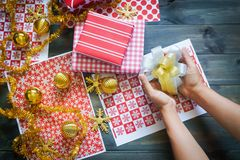 Still life of Merry Christmas and Happy new year DIY gift box. Es Stock Image