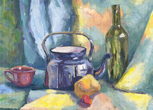 Still life with Metal Teapot and Bottle. Painting. Gouache on Paper Royalty Free Stock Photography