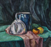 Still life with Metal Teapot and Milk-can. Watercolor Painting Stock Photo
