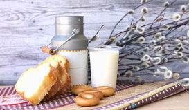 Still life: milk, bread, willow. On a white background Stock Photography