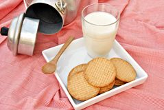 Still life of milk and cookies Stock Photography