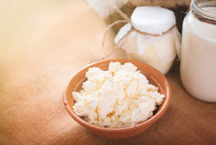 Still life of milk, cottage cheese and yogurt on the table. Farm cow dairy products. stock photos