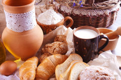 Still life with milk and homemade cakes Royalty Free Stock Image
