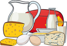 Still life with milk products Royalty Free Stock Image