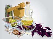Still Life with a mortar. Color vector illustration,Still Life with a mortar Stock Photo