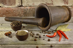 Still life with mortar and pestle on brick wall Royalty Free Stock Image