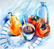 Watercolor: still life with a mug of tea, pears and persimmons. Still life with a mug of tea, ripe pears on a plate and persimmon on a blue background Royalty Free Stock Image