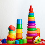 Still life from multi-colored toys royalty free stock photo