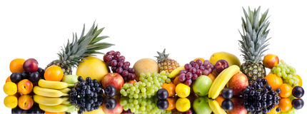 Still life multifruit. Still life of big  heap multi-coloured fruits , on white background, isolated. Panorama of two photography Stock Image