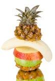 Still life multifruit. Cuts ( pineapple; apple and orange), on white background, isolated Stock Photo