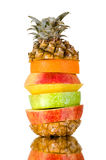Still life multifruit. Cuts ( pineapple; apple and orange), on white background, isolated Royalty Free Stock Images