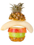 Still life multifruit. Cuts ( pineapple; apple and orange), on white background, isolated Royalty Free Stock Photo