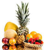 Still life multifruit. Still life of big  heap multi-coloured fruits , on white background, isolated Royalty Free Stock Images