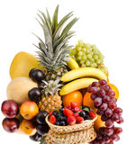 Still life multifruit. Still life of big  heap multi-coloured fruits , on white background, isolated Royalty Free Stock Image