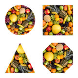 Still life multifruit. Still life of big  heap multi-coloured fruits, geometrical  figure Stock Image
