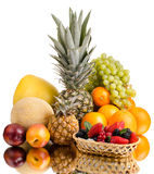 Still life multifruit. Still life of big  heap multi-coloured fruits , on white background, isolated Royalty Free Stock Photography