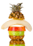 Still life multifruit. Cuts ( pineapple; apple and orange), on white background, isolated Stock Images