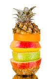 Still life multifruit. Cuts ( pineapple; apple and orange), on white background, isolated Royalty Free Stock Photos