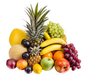 Still life multifruit. Still life of big  heap multi-coloured fruits , on white background, isolated Royalty Free Stock Photos