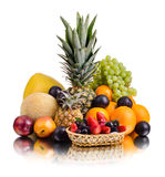 Still life multifruit. Still life of big  heap multi-coloured fruits , on white background, isolated Stock Photography