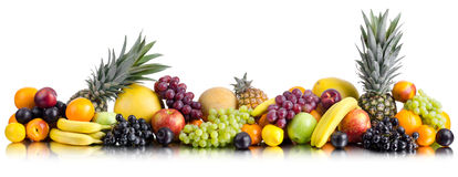 Still life multifruit. Still life of big  heap multi-coloured fruits , on white background, isolated. Panorama of two photography Royalty Free Stock Photography
