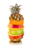 Still life multifruit. Cuts ( pineapple; apple and orange), on white background, isolated Stock Photography